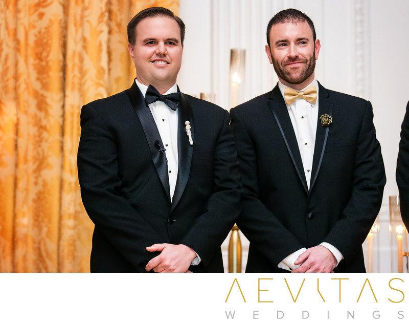 Groom with best man at Yorba Linda wedding ceremony