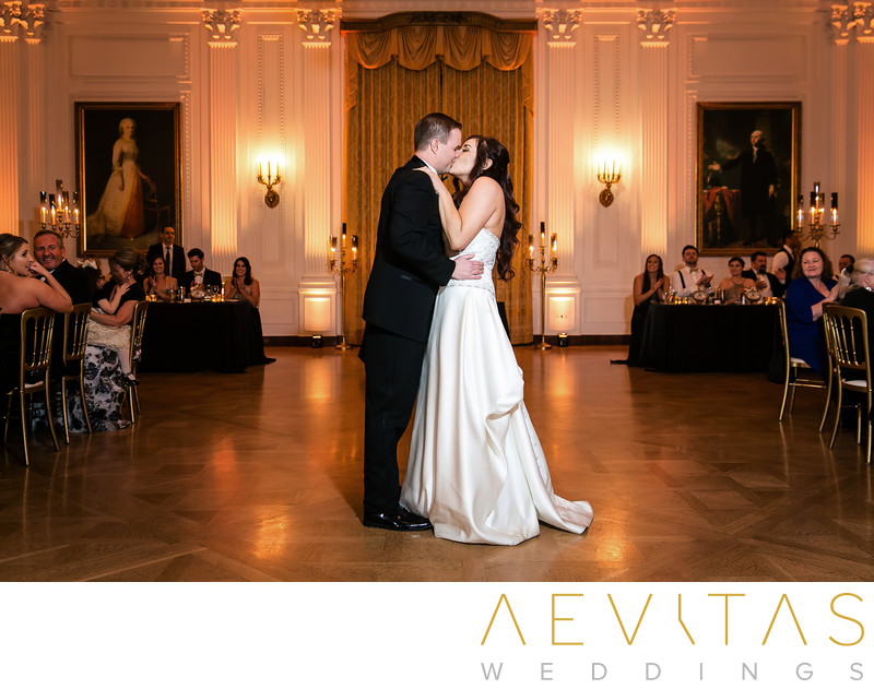 Couple kiss after Yorba Linda reception first dance