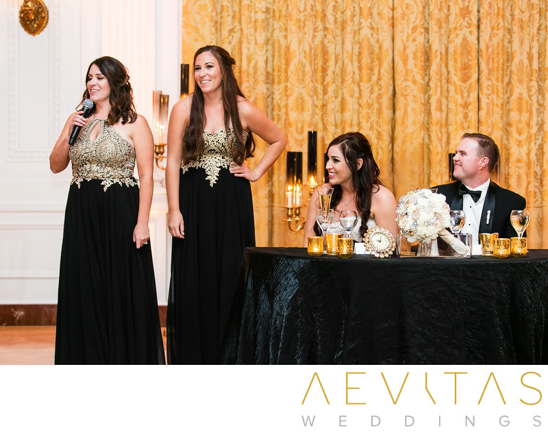 Bridesmaids speech with couple at Yorba Linda reception