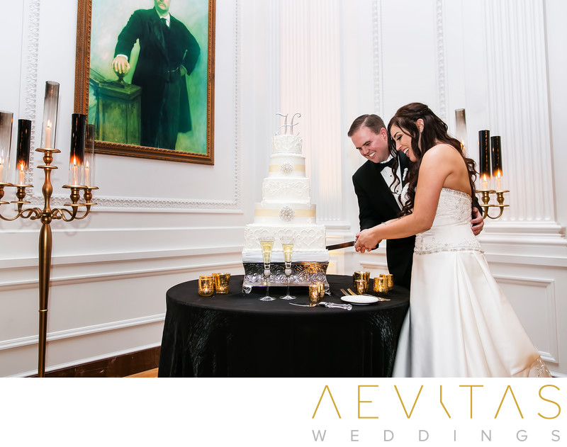 Couple cake cutting at Richard Nixon Library wedding