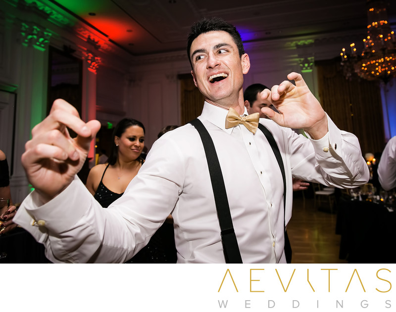 Man dancing at Yorba Linda wedding reception