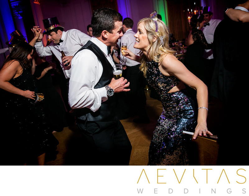 Guests dancing at New Years Eve wedding reception