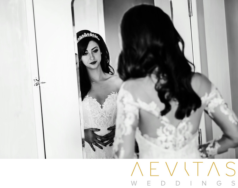 Black and white reflective bride getting ready in LA