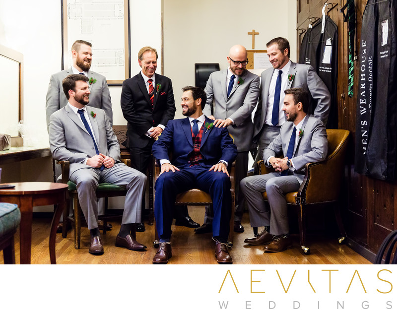 Groom with groomsmen getting ready at LA church wedding