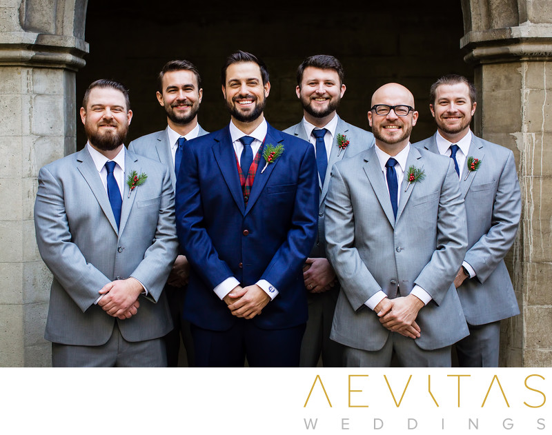 Groomsmen portrait outside Los Angeles church