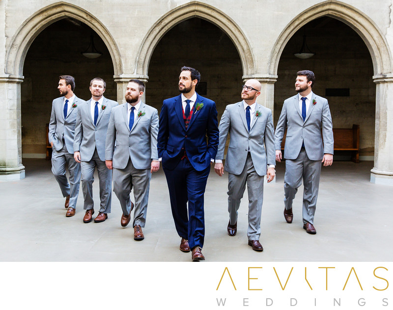Groom and groomsmen walking at Los Angeles church