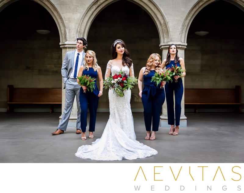 Bridal party at First Congregational Church of LA