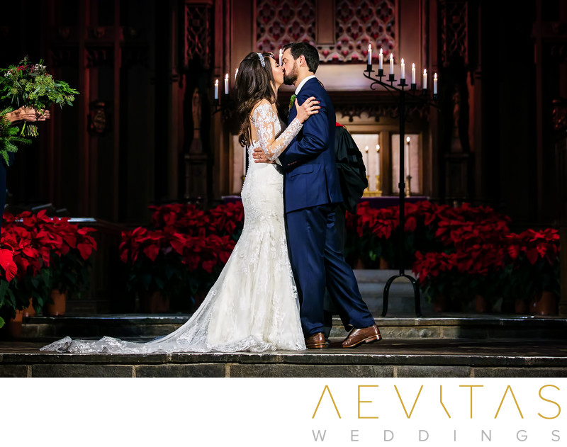 Couple kiss at First Congregational Church wedding