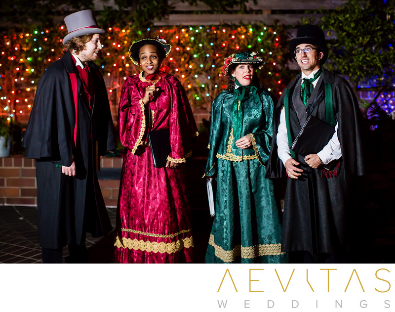 Carollers at Christmas-themed wedding at Tiato