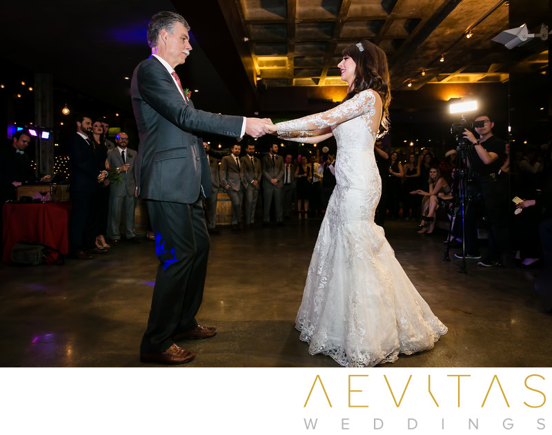 Bride and dad dancing at Tiato Santa Monica reception
