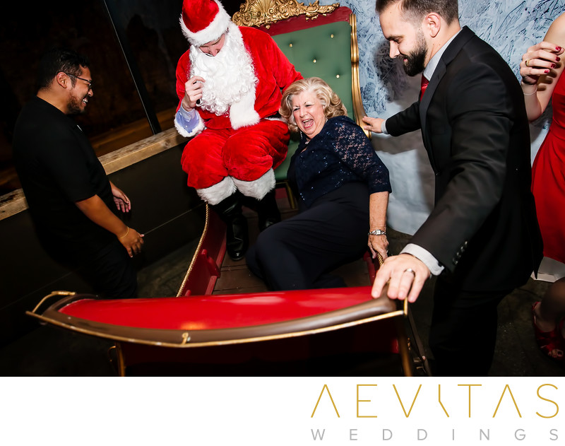Funny sleigh moment at Tiato Christmas wedding party