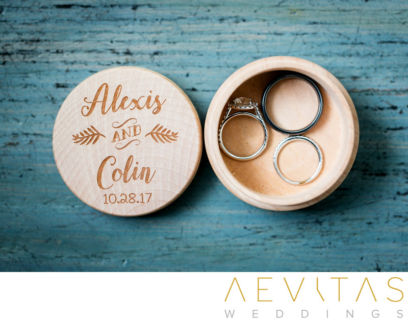 Wedding rings in box by Santa Monica photographer