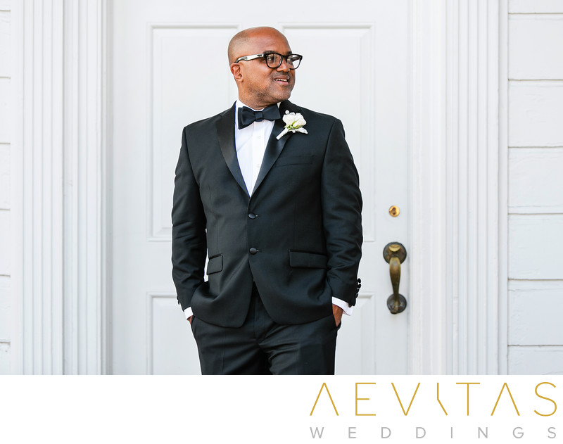 Sophisticated groom portrait at Santa Monica wedding