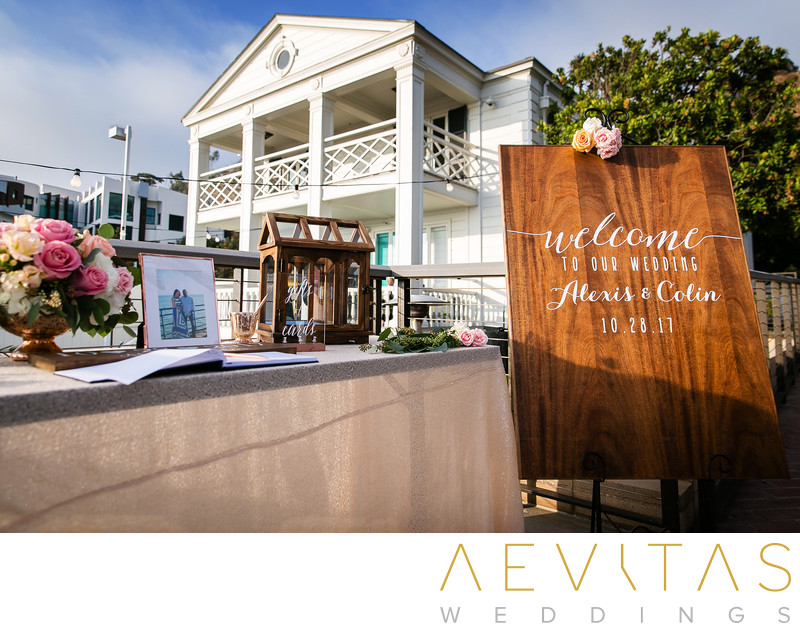 Guest sign-in table at Santa Monica wedding