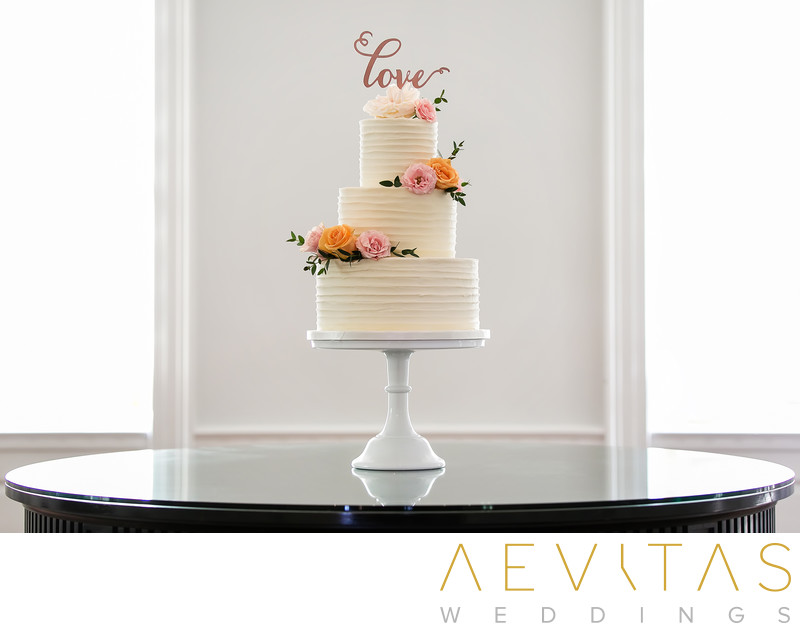 Multi-tiered wedding cake at Marion Davies Guest House