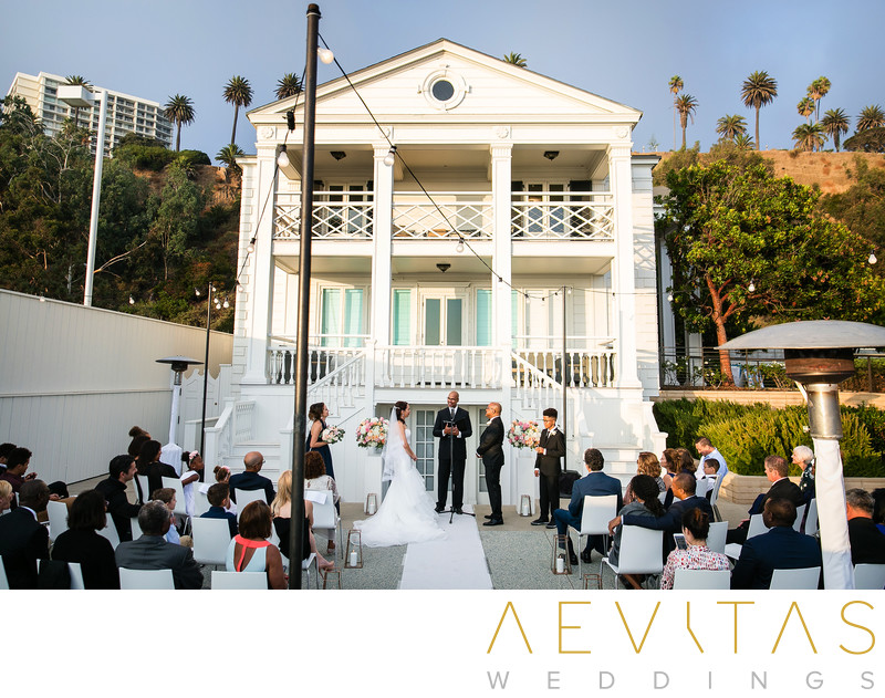 Intimate courtyard wedding at Marion Davies Guest House