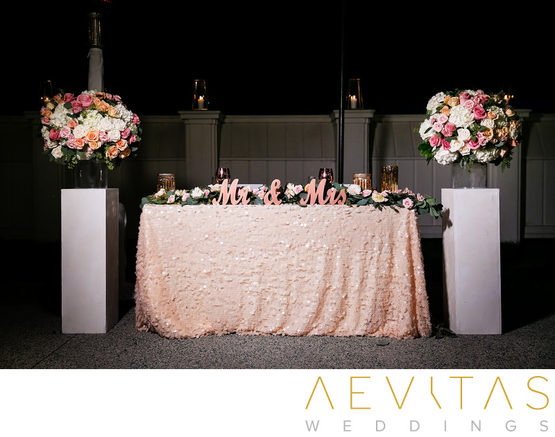Sweetheart table at Marion Davies Guest House wedding