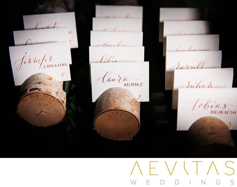 Creative wooden name place settings in Santa Monica