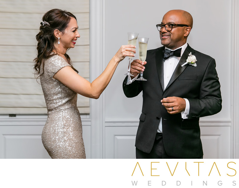 Champagne couple toast at Santa Monica reception