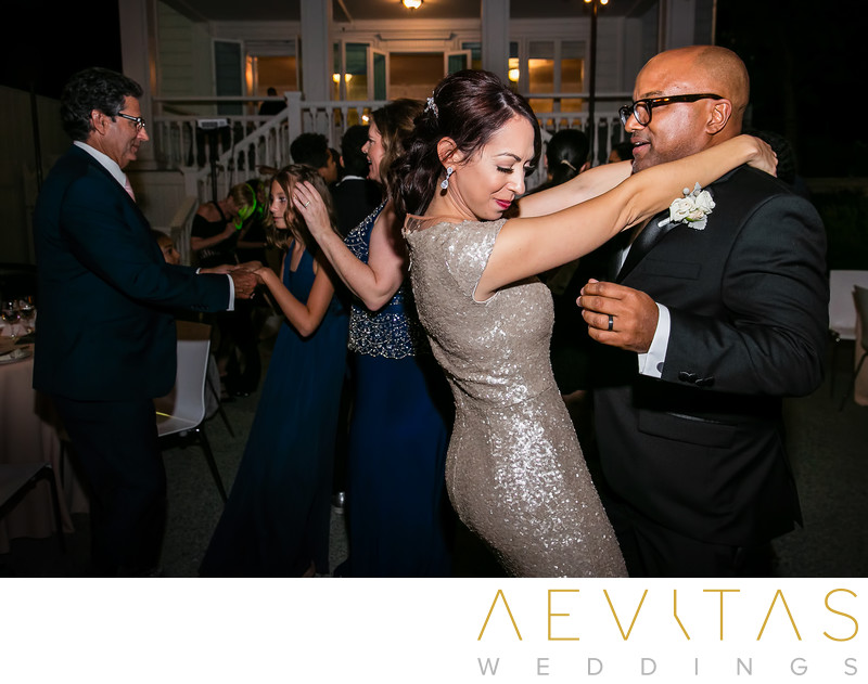 Bride and groom dancing at Santa Monica reception