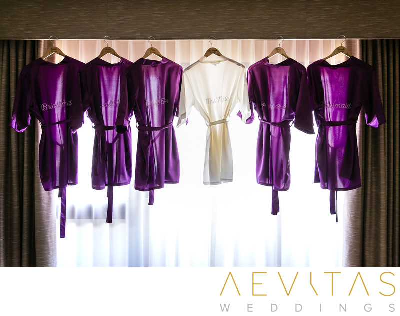 Bride and bridesmaids robes in Hotel Irvine suite