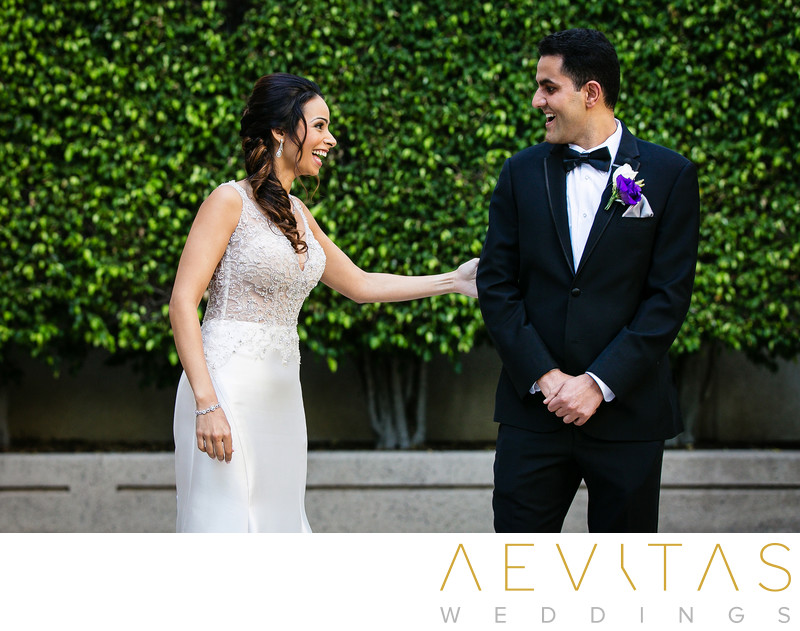 Couple reactions at Hotel Irvine first look session