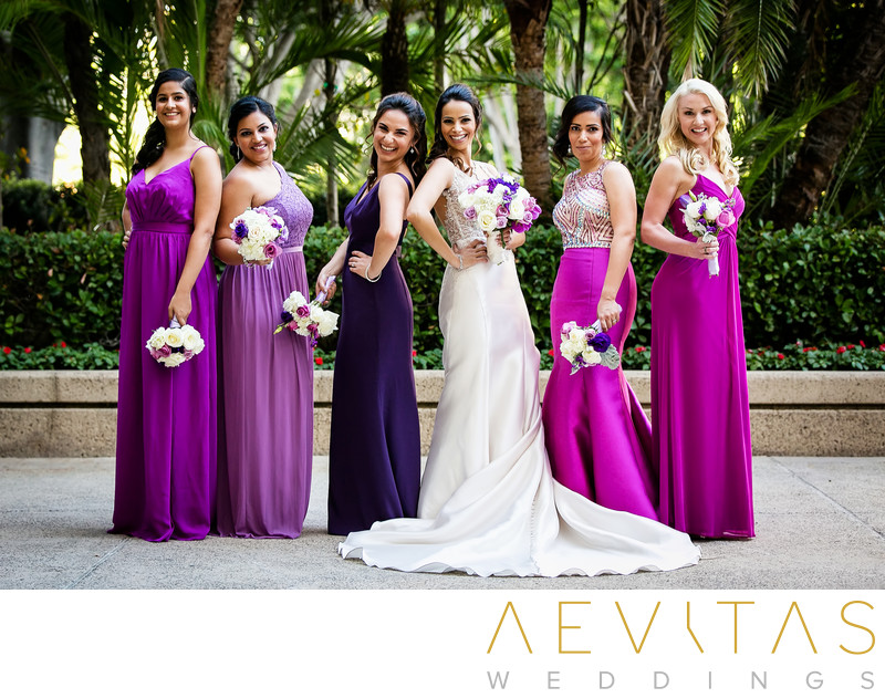 Creative bride and bridesmaids portrait at Hotel Irvine