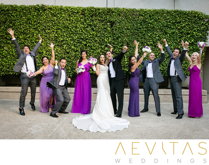 Playful bridal party portrait at Hotel Irvine wedding