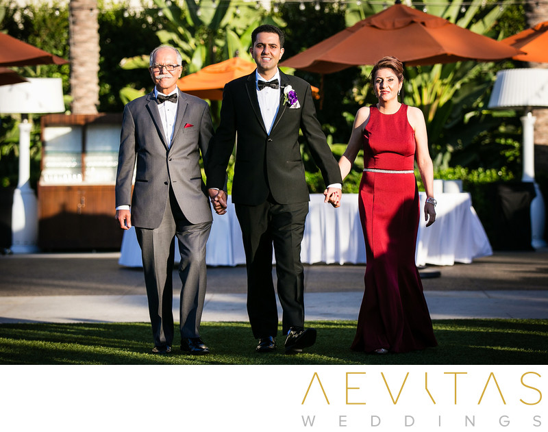 Groom and parents arrive Hotel Irvine Persian wedding
