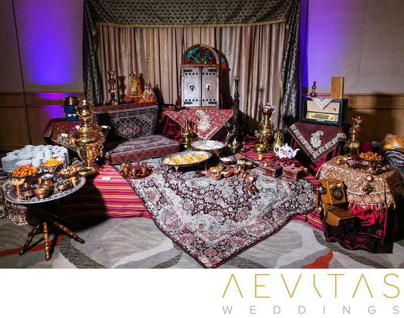 Traditional Persian wedding decor by LA photographer