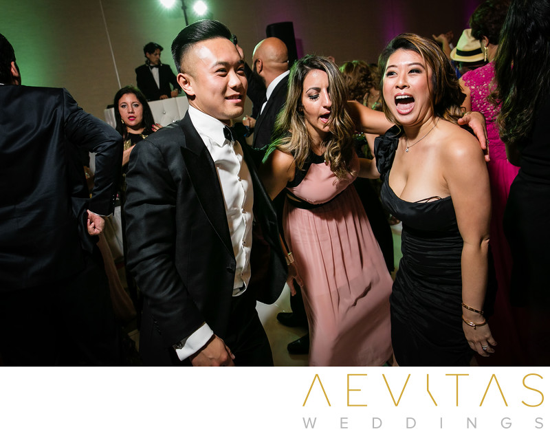Wedding guests partying at Hotel Irvine reception