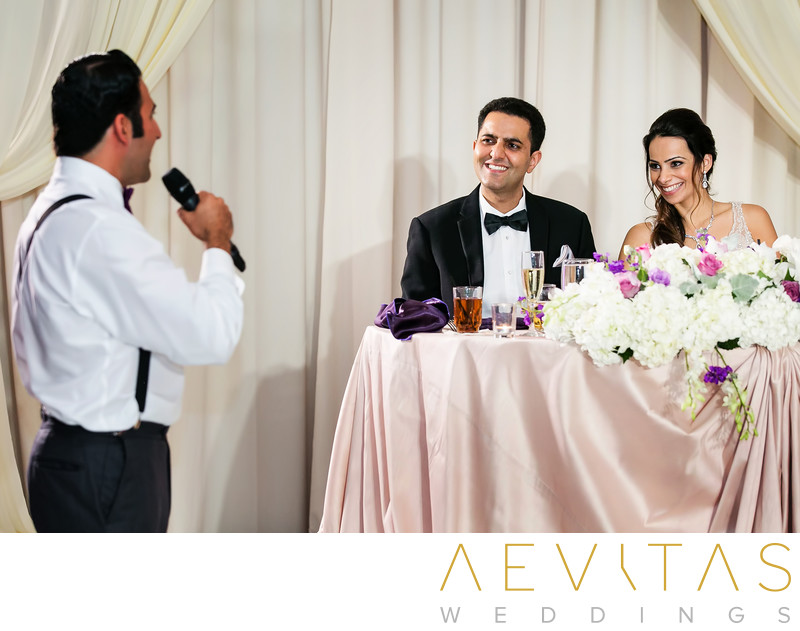 Groomsman speech with couple at Irvine sweetheart table