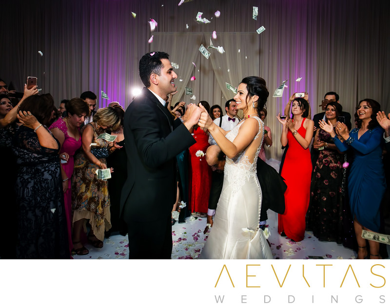 Persian money dance with couple at Hotel Irvine wedding