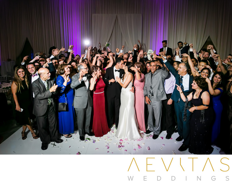Wedding party photo at Hotel Irvine reception