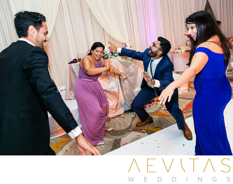 Funny photo of guests dancing at Hotel Irvine wedding