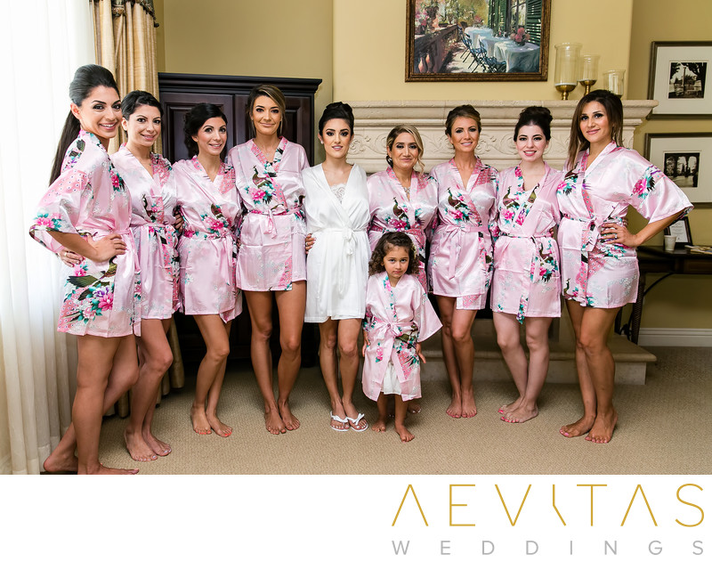Bridesmaids in floral robes at Arden Hills Resort Club