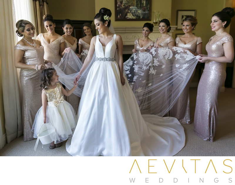 Portrait of bride, bridesmaids and flower girl