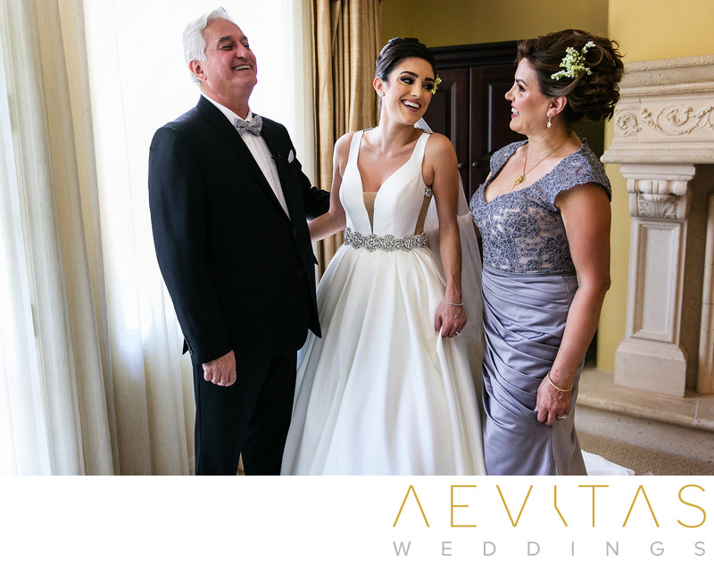 Bride special moment with parents Arden Hills Resort