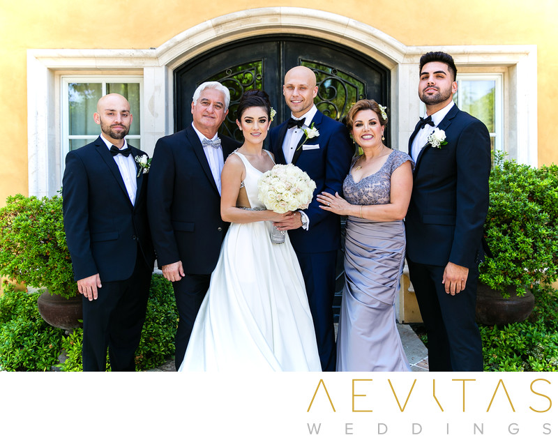 Couple with bride's family at Arden Hills Resort Club