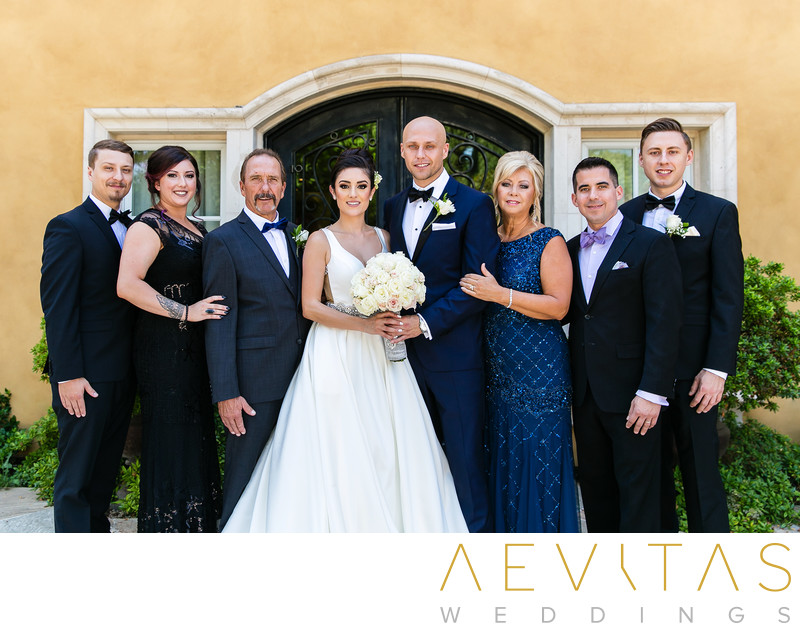 Couple with groom's family at Arden Hills Resort Club