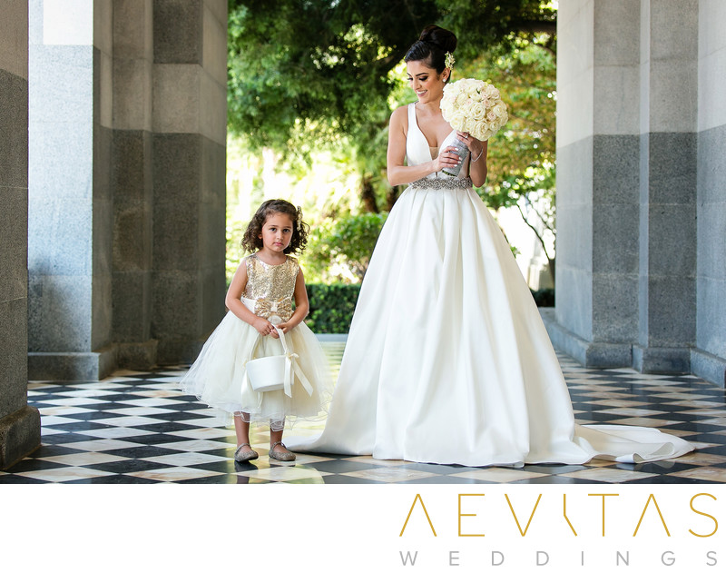Bride photo with flower girl California State Capitol