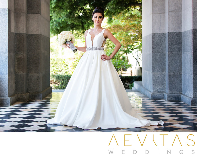 Stunning bride portrait at California State Capitol