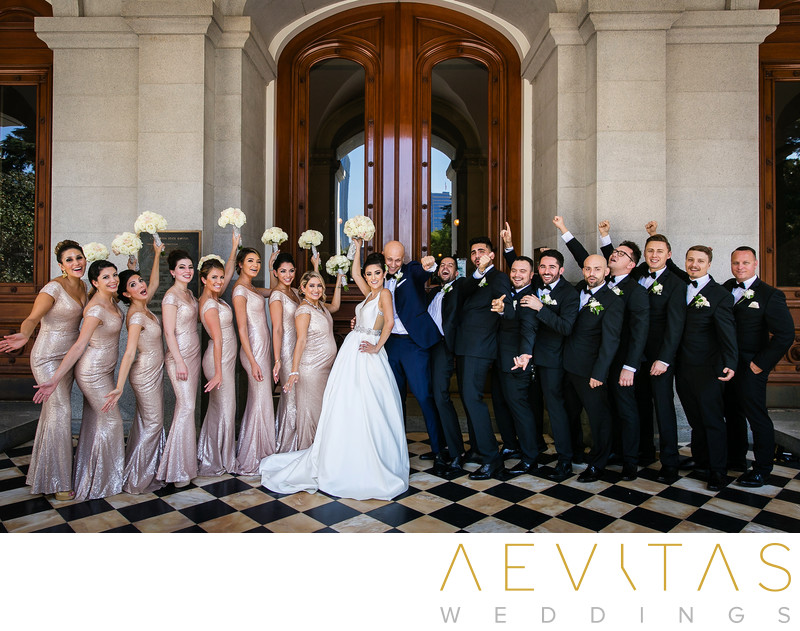 Fun bridal party portrait at California State Capitol