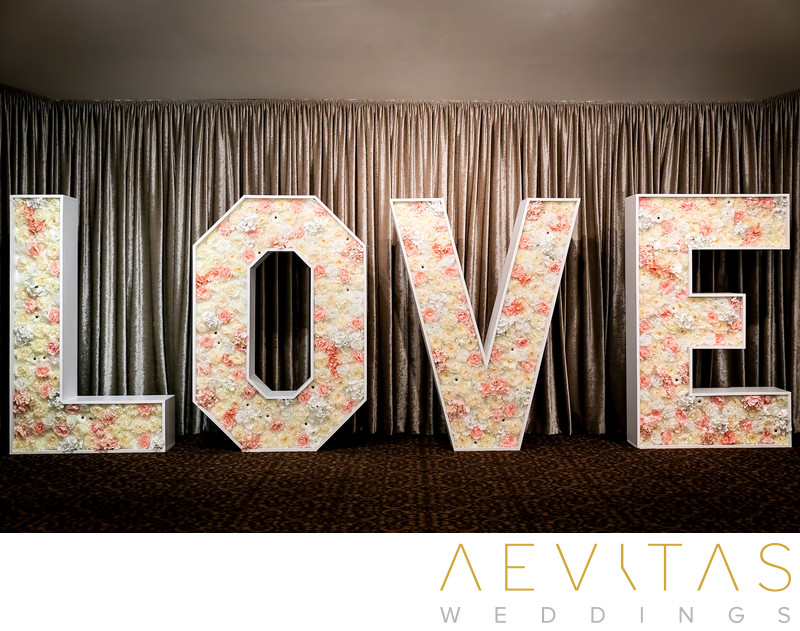 Big LOVE sign at Arden Hills Resort Club reception