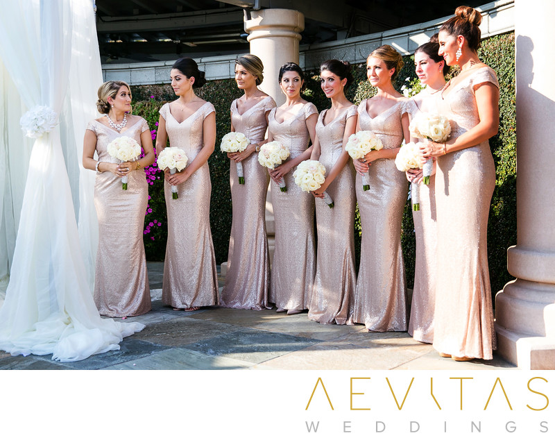 Bridesmaids in pink at Sacramento wedding ceremony