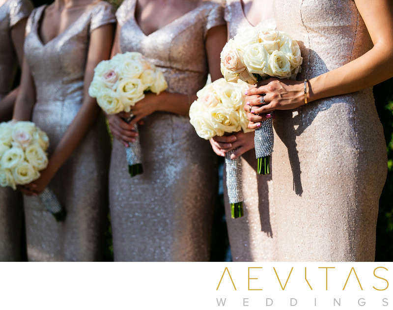 Close-up photo of bridesmaids bouquets in Sacramento