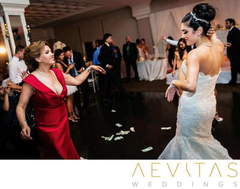 Bride and mom dancing at Arden Hills wedding reception