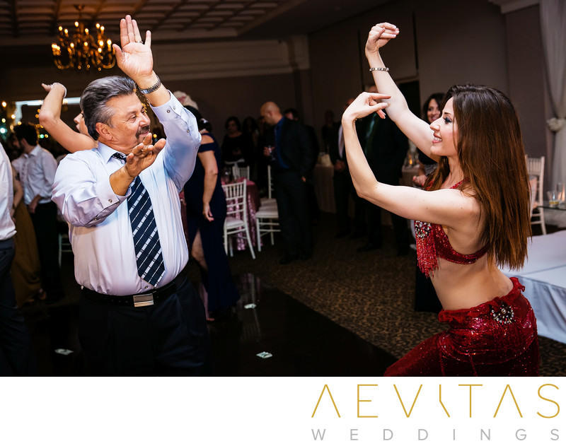 Persian dancer and guest at Arden Hills reception
