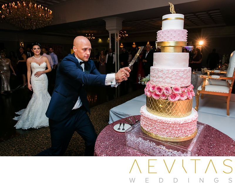 Groom cuts multi-tiered wedding cake at reception