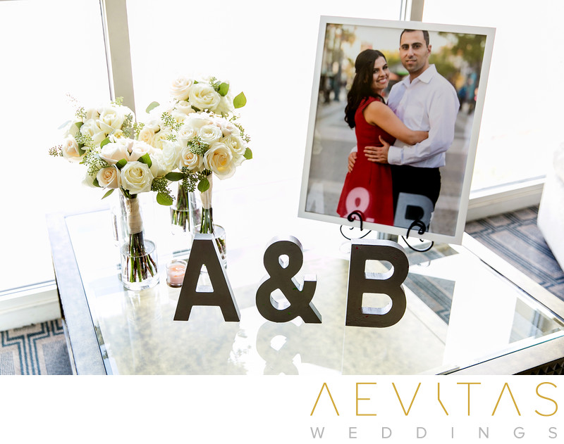 Couple portrait in hotel suite at Glendale wedding